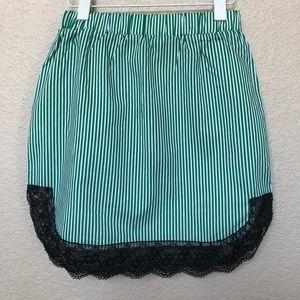 Green and White Pinstripe Lace Trim Mini Skirt